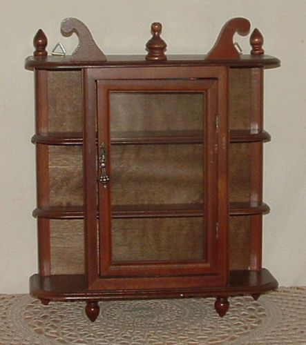 Vtg Small Wood Glass Curio Cabinet Wall Mount Hang Table