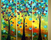 on SALE Original Modern Trees Landscape Fantasy Painting SPRING WIND by Luiza Vizoli 36x36 Stretched Canvases