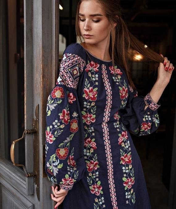 Dress Ukrainian Vyshyvanka Dress Embroidered Women Dress Ukrainian dress  Gift for HER Gift for Wife 9cef68ef7f431