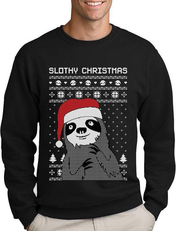 252669511 Funny Slothy Christmas Ugly Christmas Youth Kids Long Sleeve T-Shirt Xmas  Tops & T-Shirts