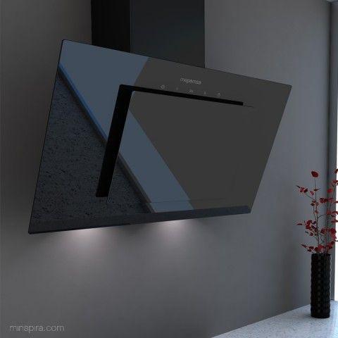 Campana decorativa de pared Empire en espejo blanco o negro para dotar a la cocina de elegancia. Campana Extractora EMPIRE NEGRA