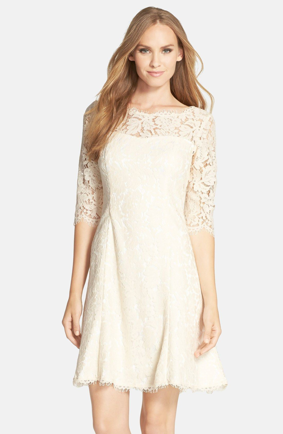 Lace fit flare dress tulip dress quarter sleeve and for Petite lace wedding dresses