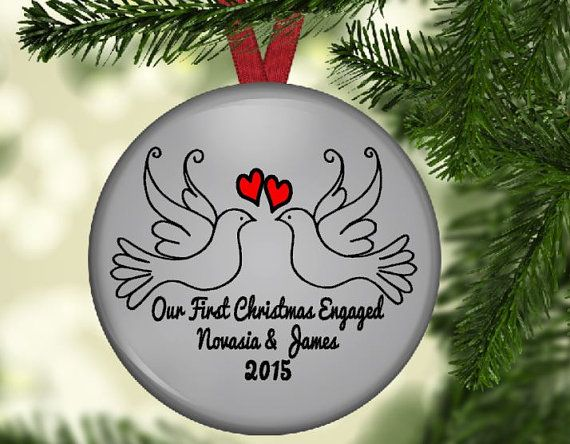 Engagement Ornament, Christmas Ornament, Personalized Christmas