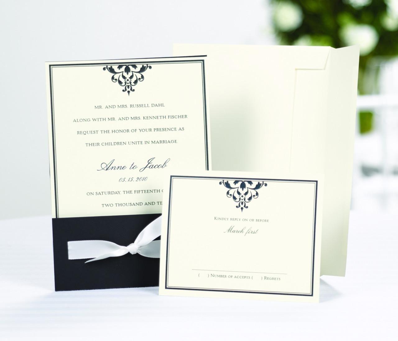 Bottom Ribbon-Tied Wrap Wedding Invitation Kit includes 25 of each ...