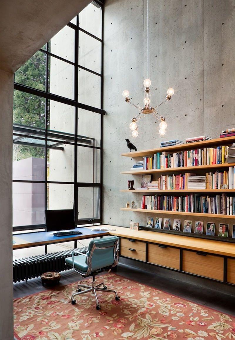 20 home-offices decorados com o estilo industrial para você se ...