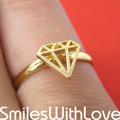 $10 Adjustable Diamond Cut Out Ring in Gold