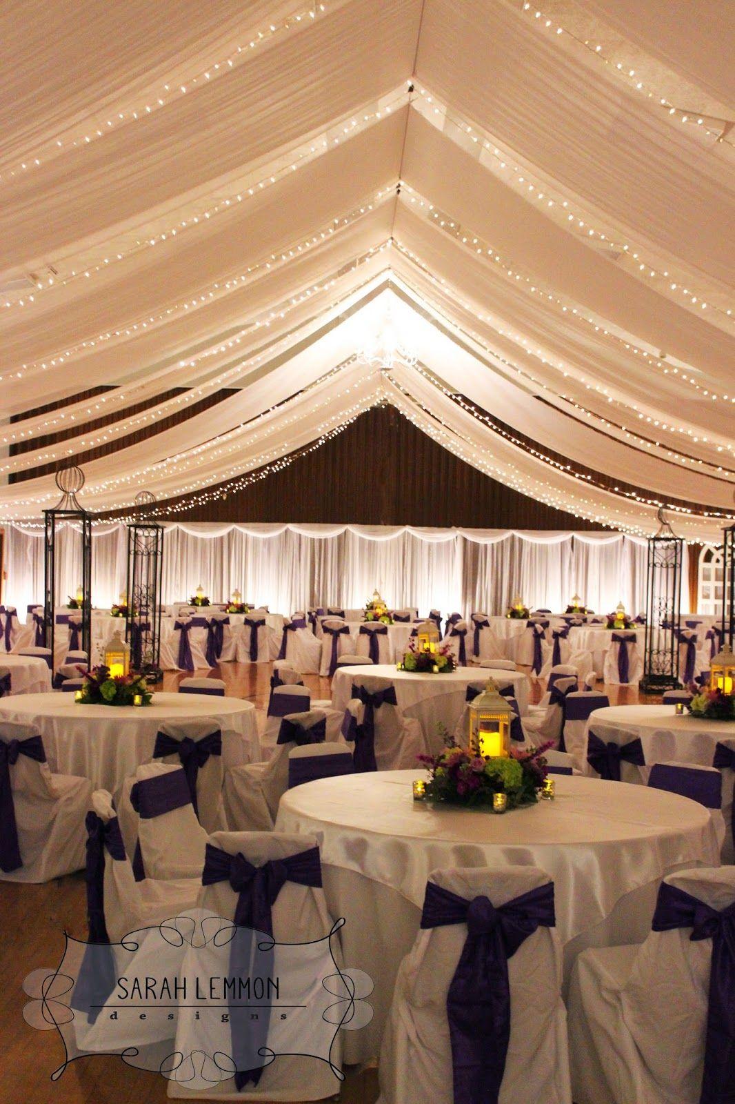 Sarah Lemmon Designs Purple Celadon Wedding Reception Wedding Tent Decorations Wedding Reception Hall Reception Ceiling