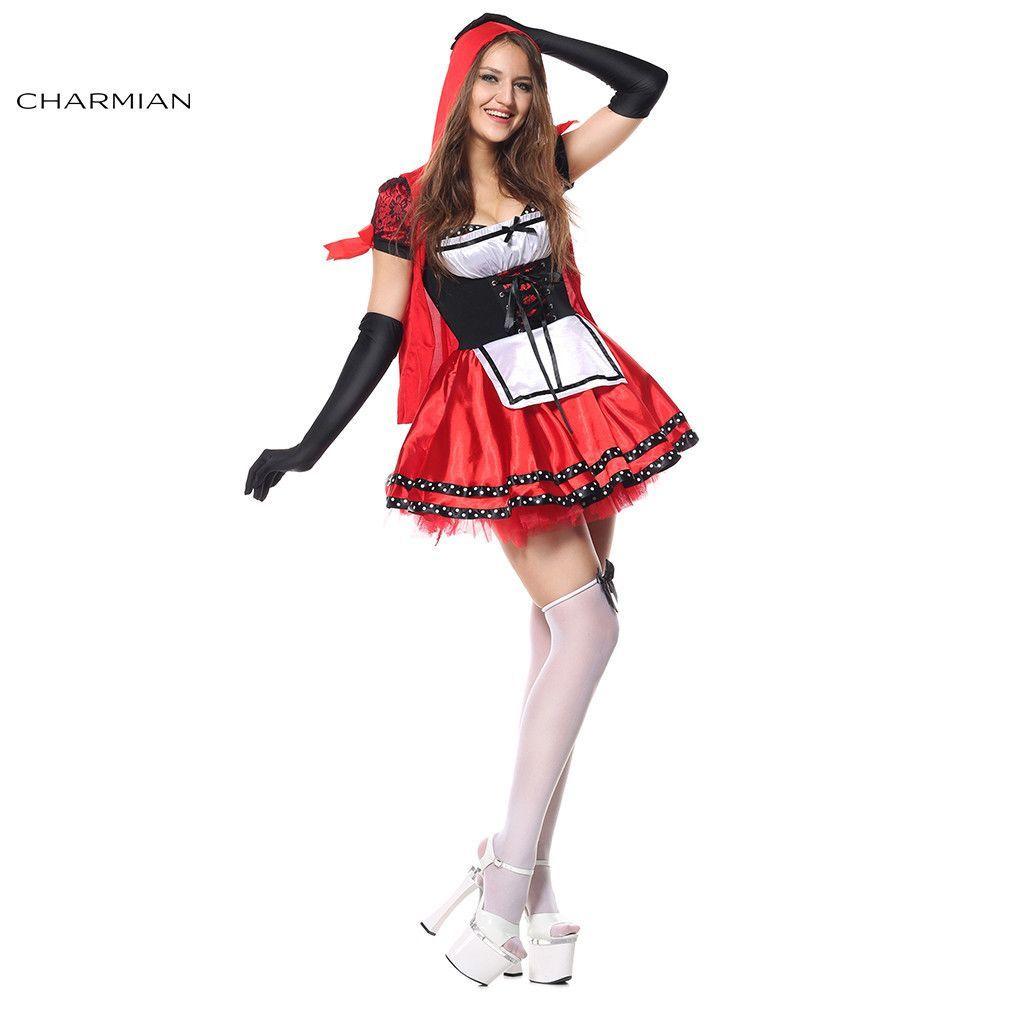 Charmian Womenu0027s Little Red Riding Hood Halloween Anime Cosplay Costume Fairy Tale Plus Size Carnival Oktoberfest  sc 1 st  Pinterest & Charmian Womenu0027s Little Red Riding Hood Halloween Anime Cosplay ...