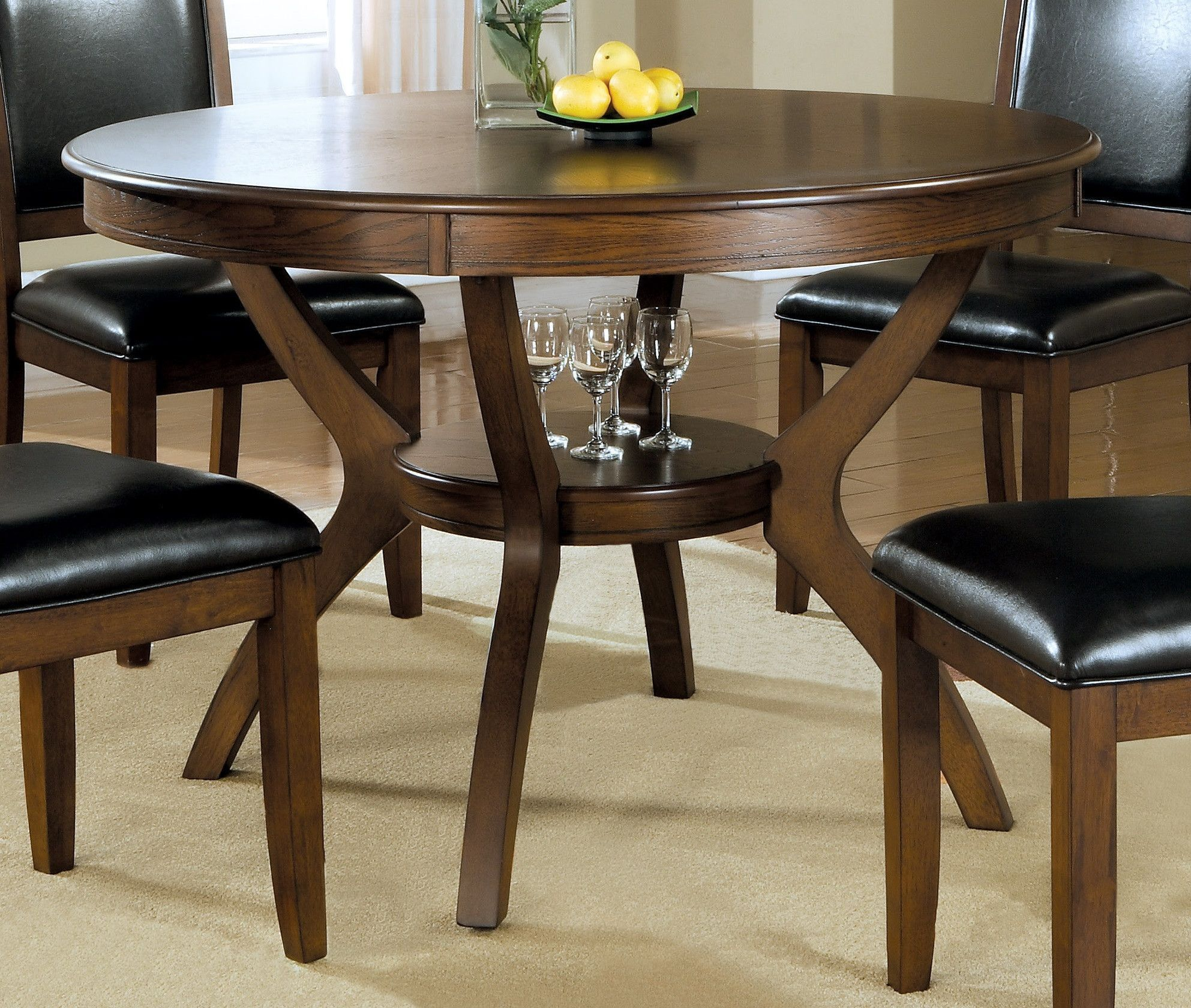 Round Dining Table in Brown Walnut Finish