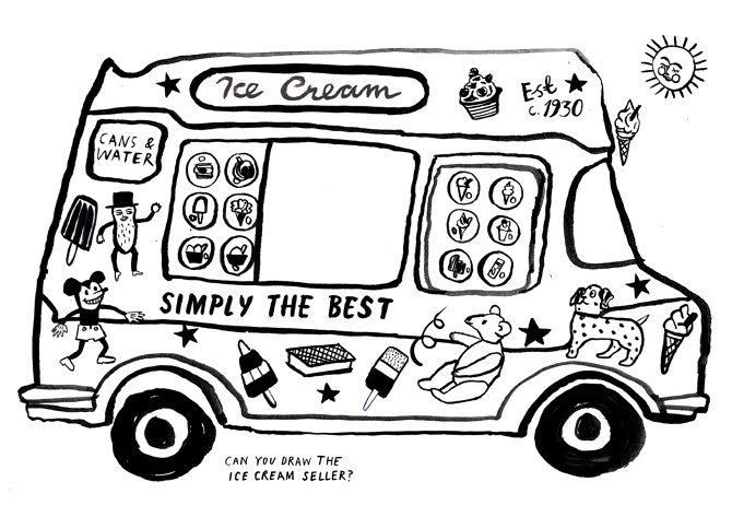 Ice Cream Van Colouring Book Louise Lockhart Illustration