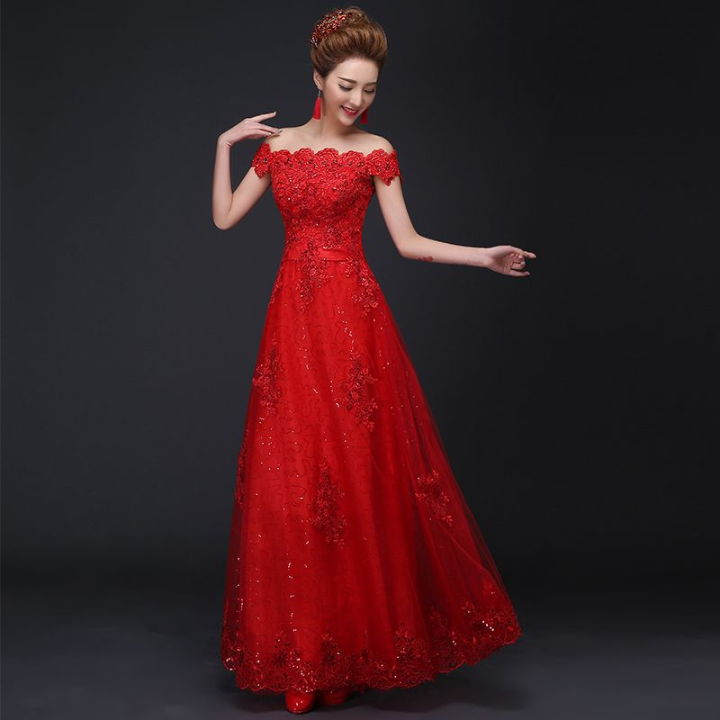 #new #red #evening #dresses #appliques #elegant #shoulder #bride #gown #ball #prom #party #homecoming/graduation #formal #dress #special #occasion