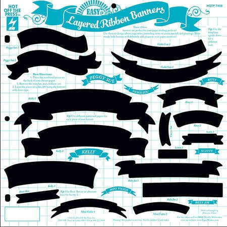 Hot Off The Press Easy Layered Ribbon Banners Template - 12 x 12