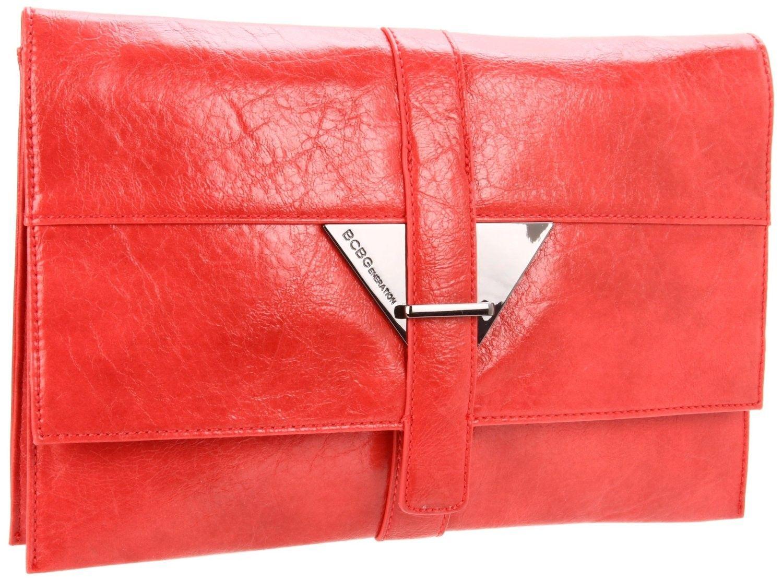 BCBGeneration Julia Coral Pink Triangle Clutch Handbag www.silverhooks.com