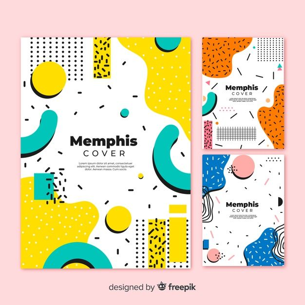 Memphis cover collection Free Vector #memphisdesign