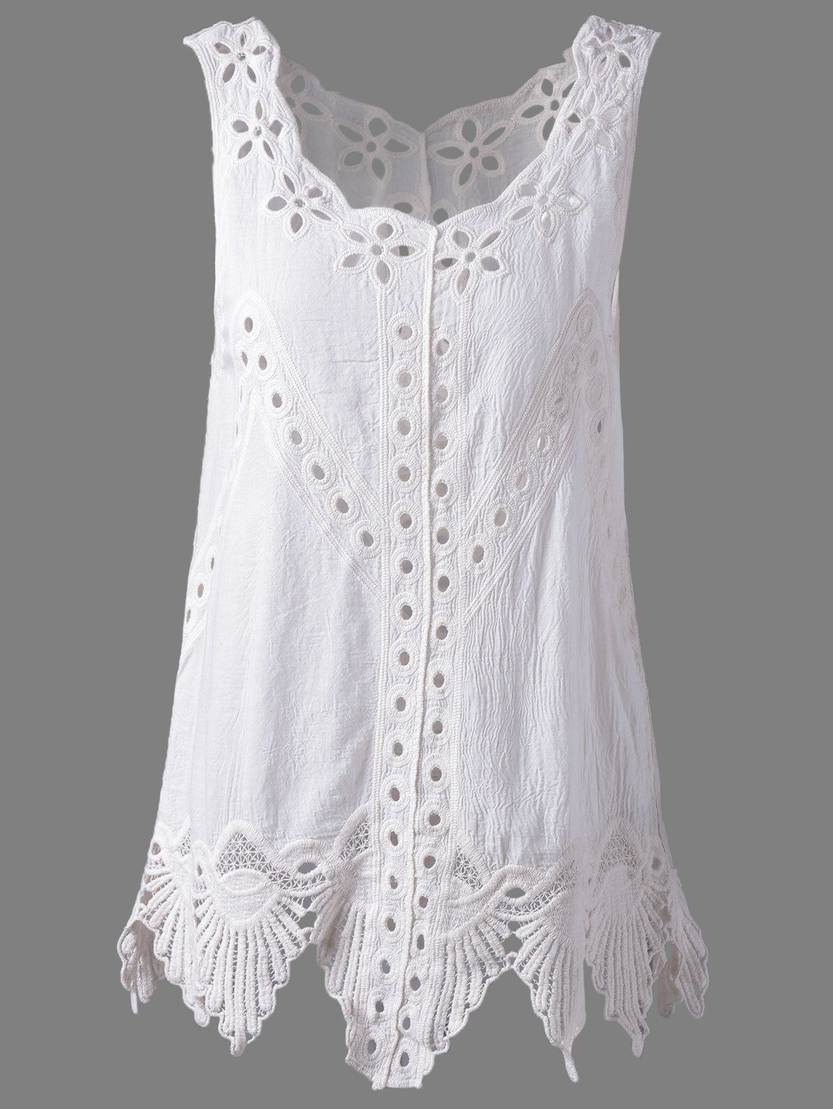 eae27f9122864 Bohemian Scoop Neck Solid Color Crochet Sleeveless Blouse For Women ...
