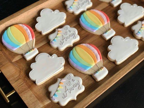 Rainbow Cloud Hot Air Balloon Vanilla Sugar Cookies (1 Dozen, 12 Cookies) Custom made up up and away