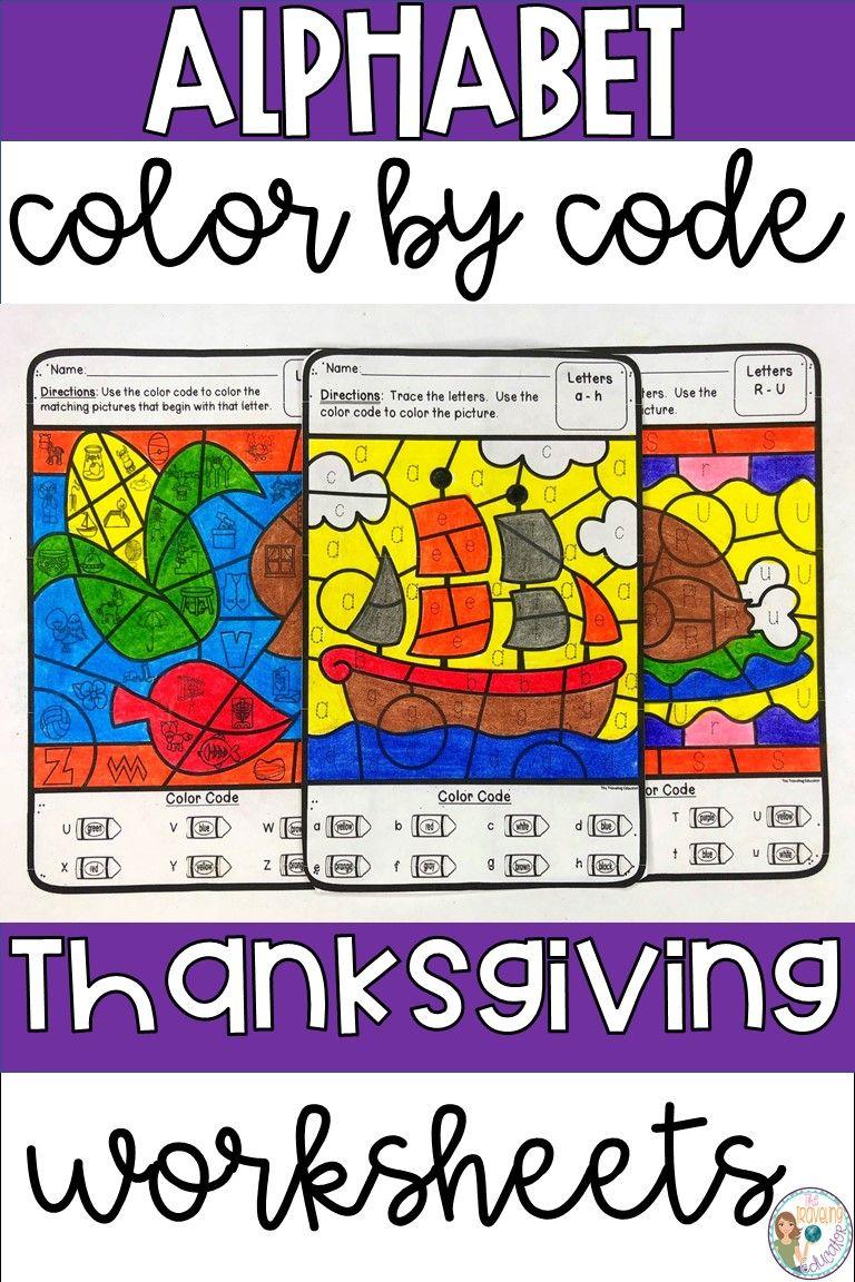 Thanksgiving Color By Alphabet Worksheets Kindergarten Worksheets Sight Words Elementary Reading Activities Sight Words Kindergarten [ 1152 x 768 Pixel ]