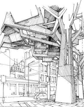 The Architecture Draftsman Stefan Davidovici Architectuur Illustraties Stadsgezichten Architectuur