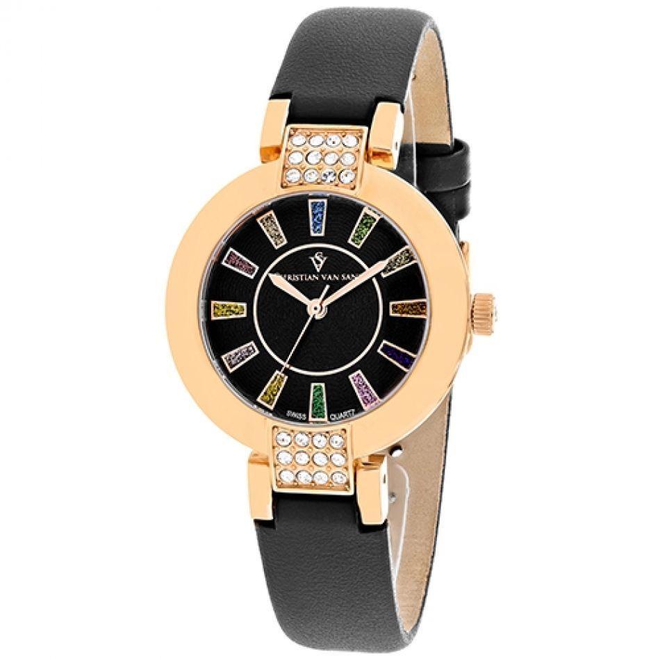 Christian Van Sant Women's CV0443 Celine Round Strap Watch