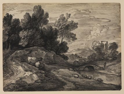thomas gainsborough - landscape with sheep and cattle on the bank of a stream, 1780-1784, black chalks, india ink wash and white gouache, on light brown tinted paper (the courtauld institute of art gallery, london)