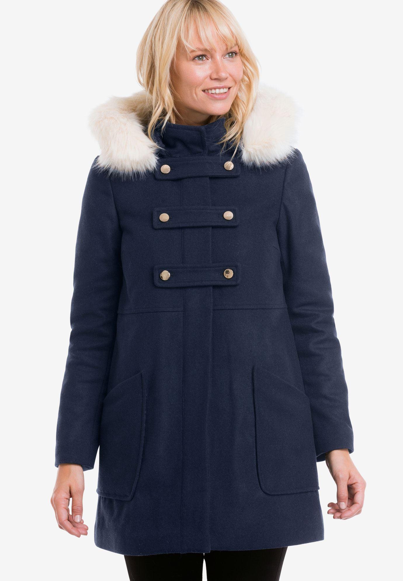 c25946ee2a5 Faux Fur Trim Wool-Blend Coat by ellos - Women s Plus Size Clothing ...