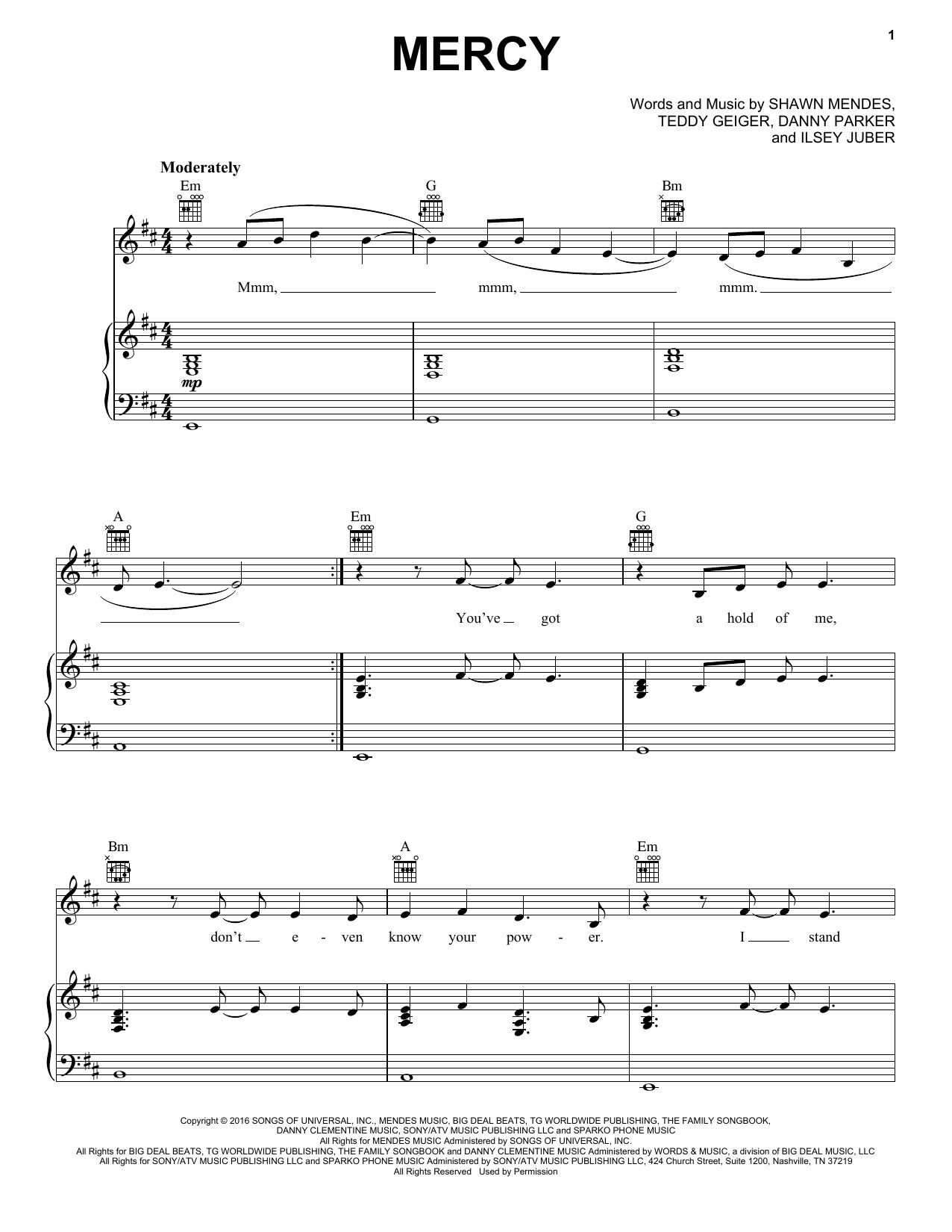 Favori Partition piano Mercy de Shawn Mendes - Piano Voix Guitare  AW98