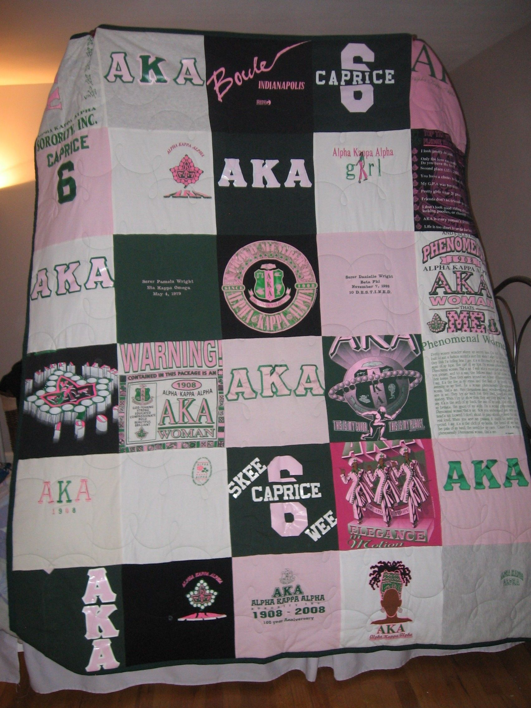 e2b6967002 Alpha Kappa Alpha t-shirt quilt. I would do this with my old tees and  sweatshirts.