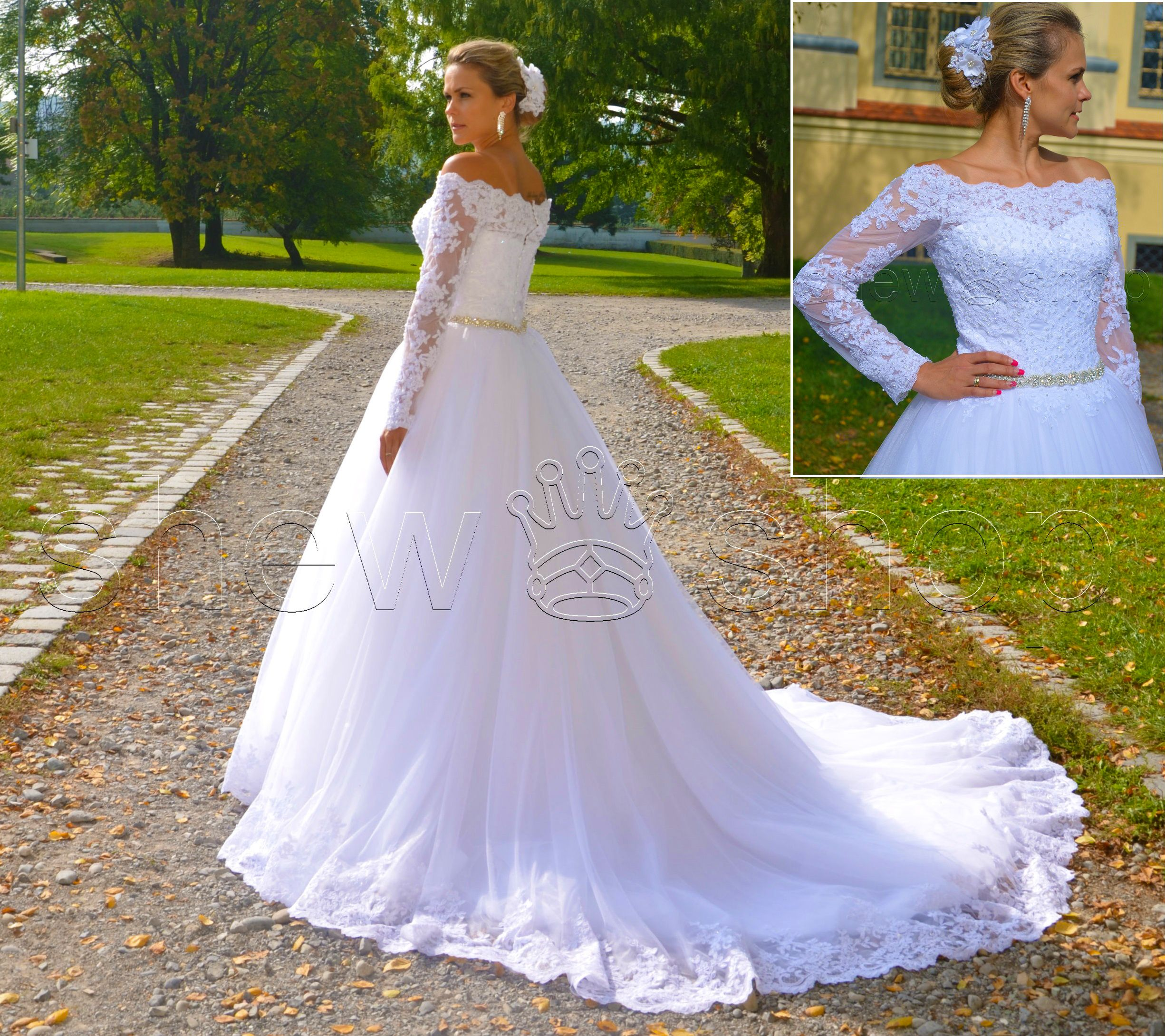 Luxus Brautkleid Hochzeitskleid NEU Schleppe Ärmel Prinzessin ...