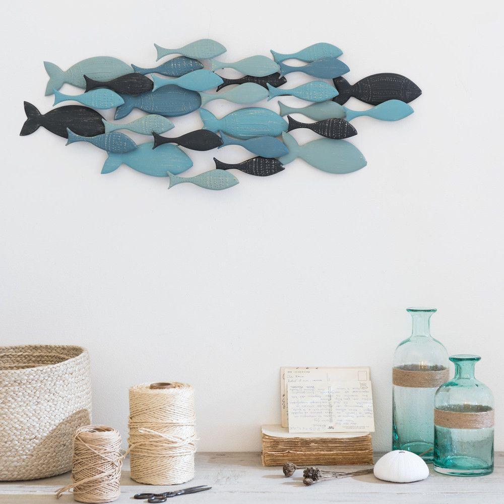 decorazione da parete banco di pesci in metallo 71x26 cm