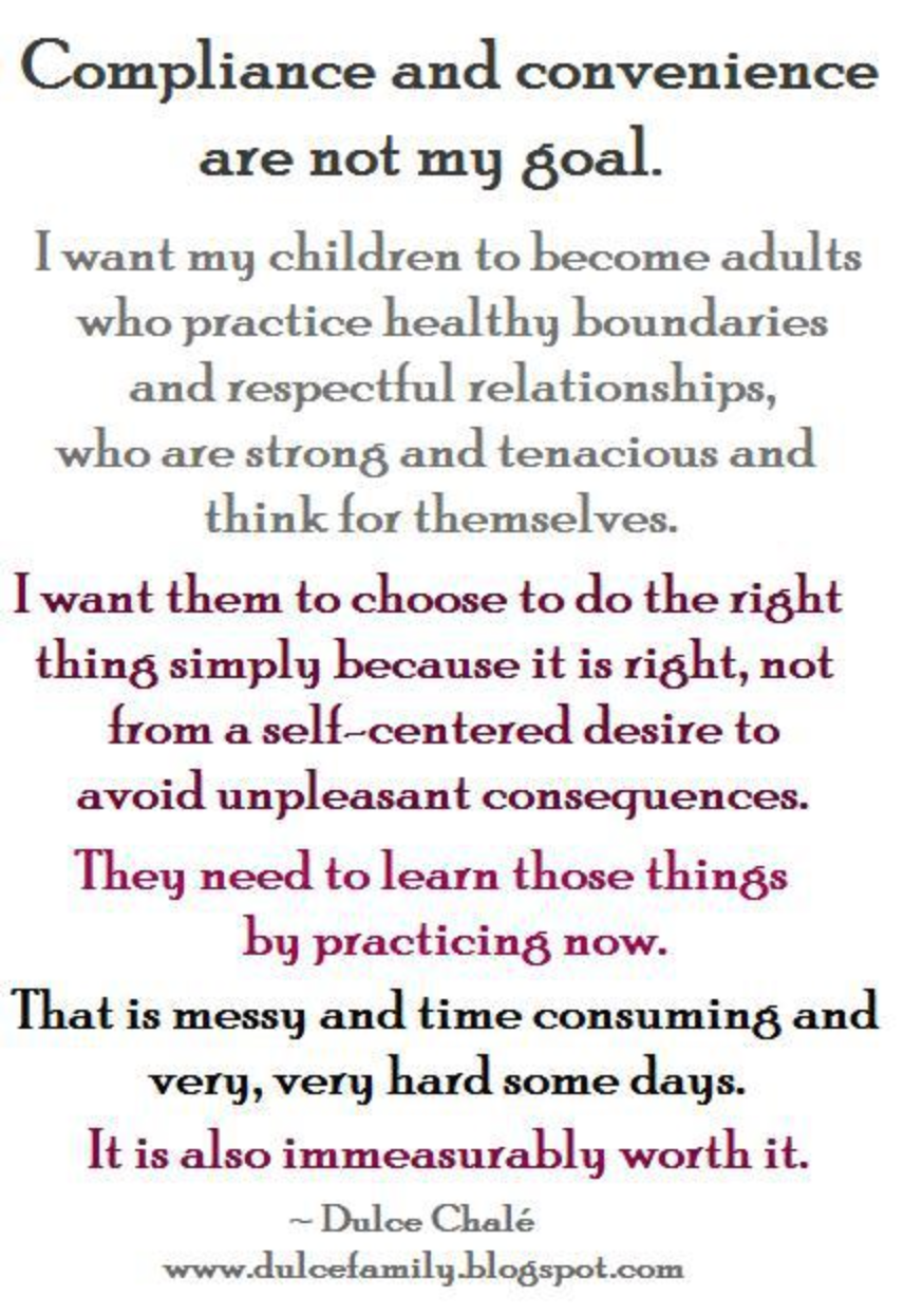 compliance and convenience are not my goal good parenting is not