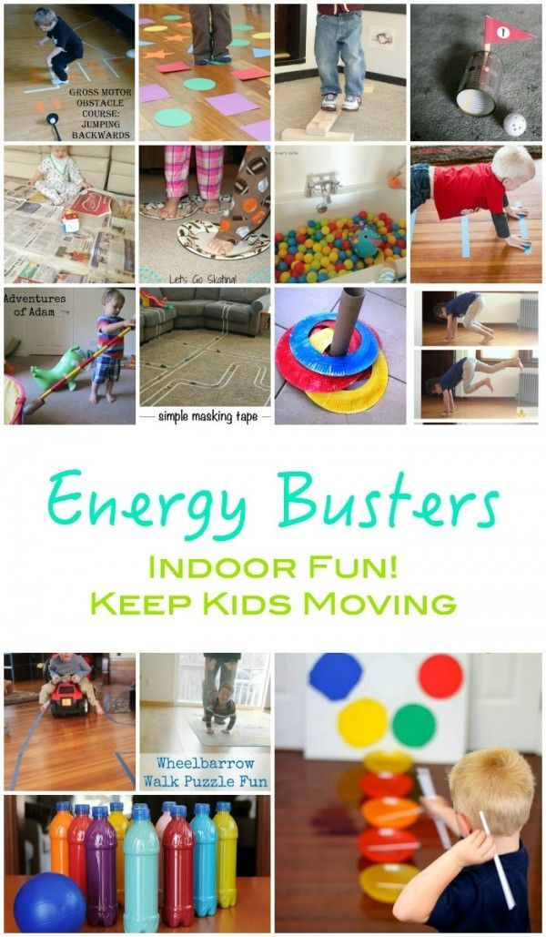 Energy Busters!! Here are some great ideas for those rainy indoor days  to keep moving! is part of Indoor activities for kids -