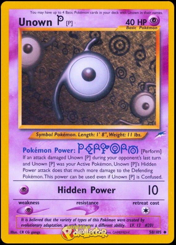 Unown P (neo destiny set) | POKEMON CARDS!!! | Pokemon cards, Gold