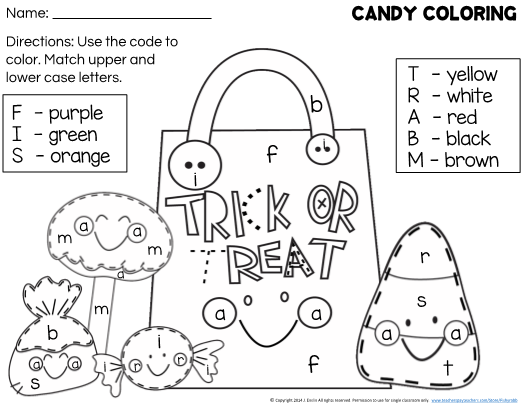 This is a Halloween coloring page for students learning to ...