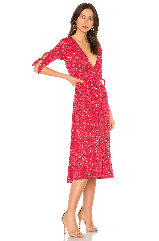 Auguste daphne tie sleeve dress in red tie sleeve dress