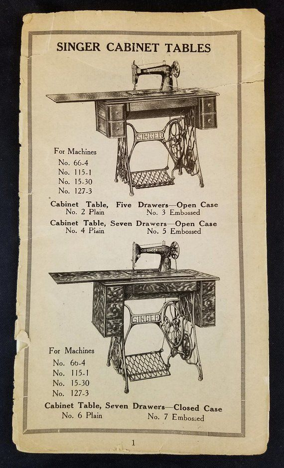 Antique Catalog Singer Sewing Machines & Cabinets Circa ...