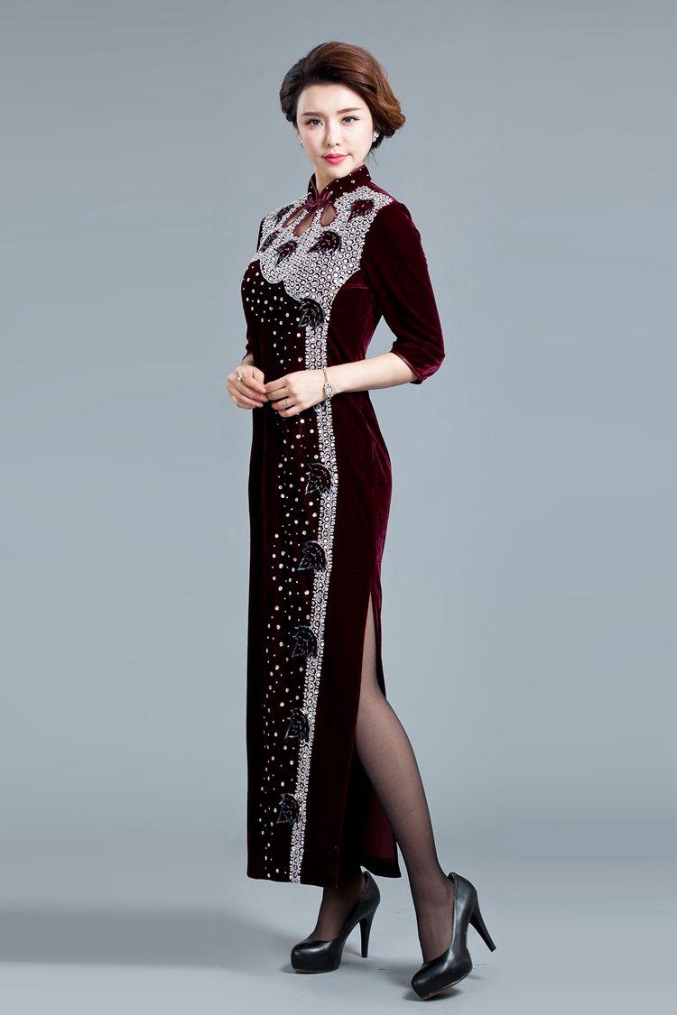 aa0d67a8c86d6 クラシック 長袖チャイナドレス スリット チーパオ 中華服--九六商圏 - 海外ファッション激安通販サイト