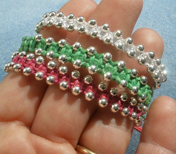 Beaded Macrame Bracelets- Set of THREE via Etsy