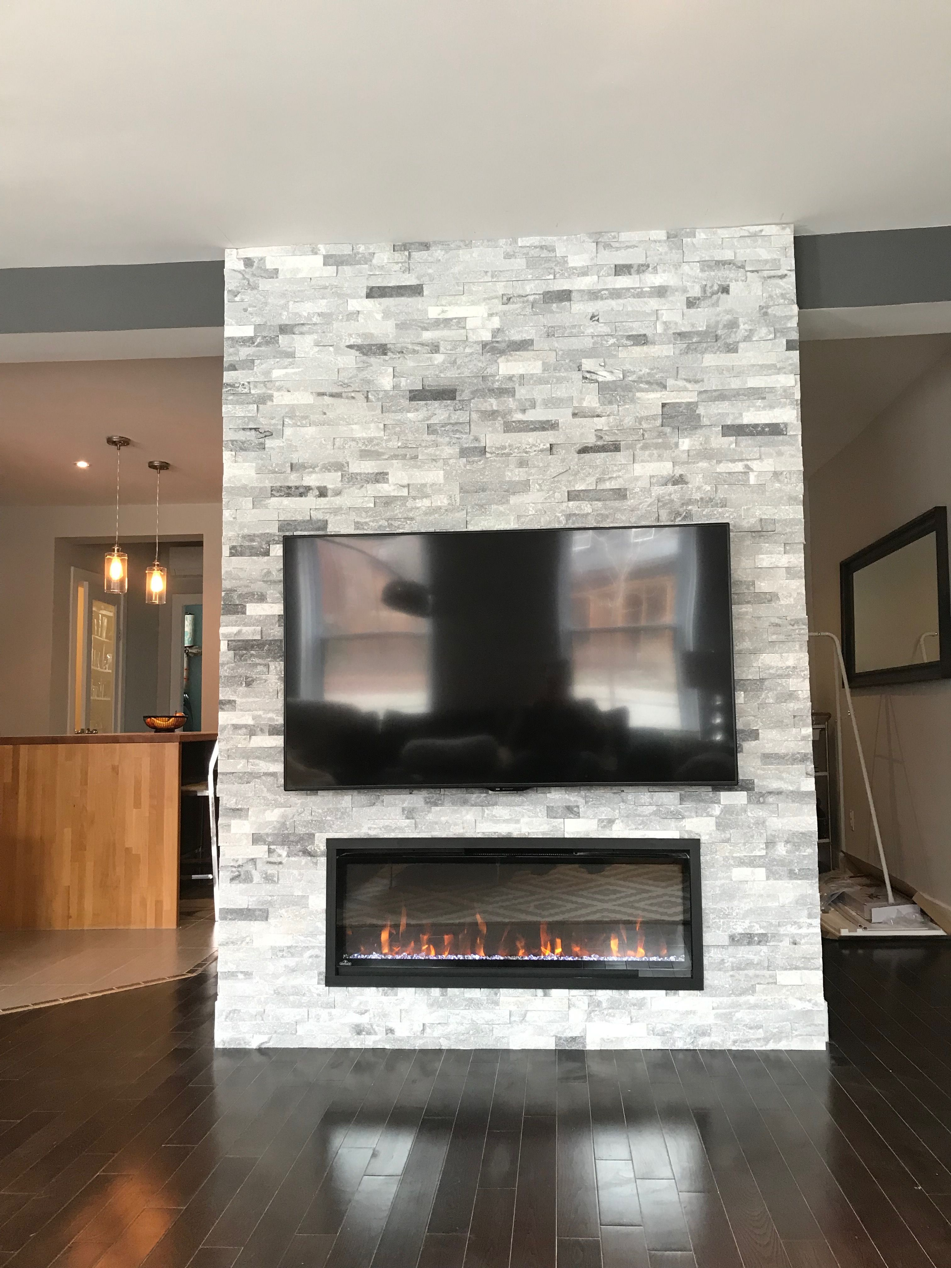 Pointe St Charles Accent Wall Impex Stones Fireplace Tv Mount