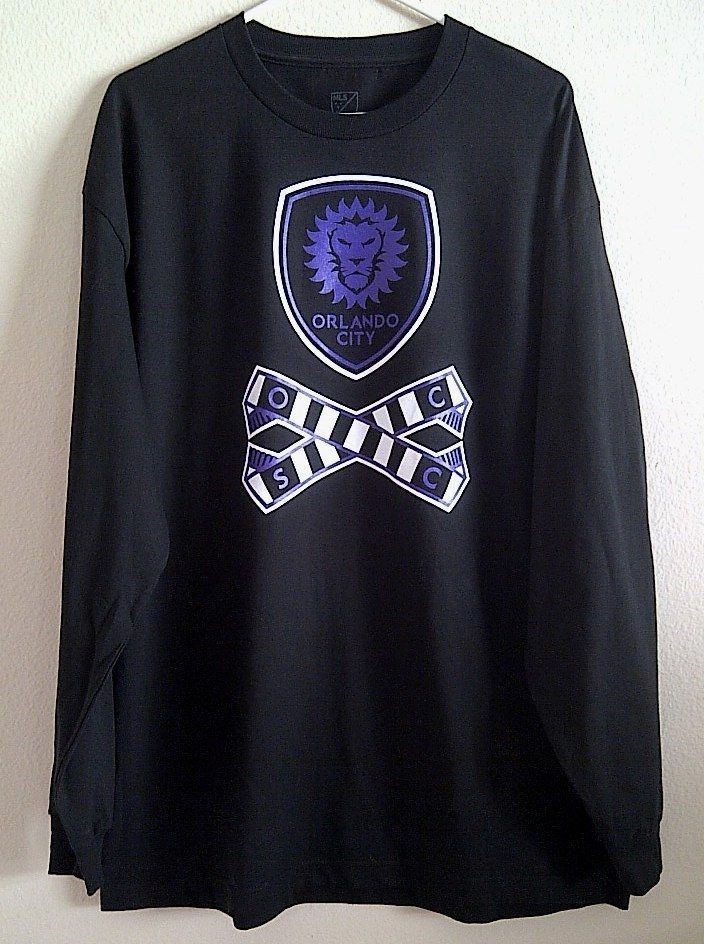 New MLS Orlando City Soccer sz XL Men s Black Long Sleeve Shirt T-Shirt   b2d522989c9b1