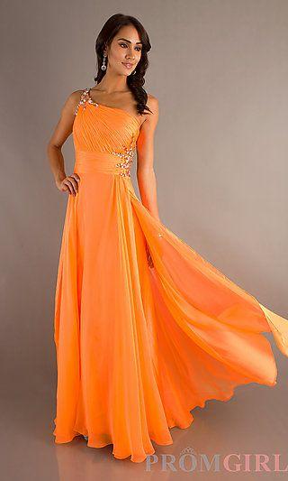 Floor Length One Shoulder Gown at PromGirl.com