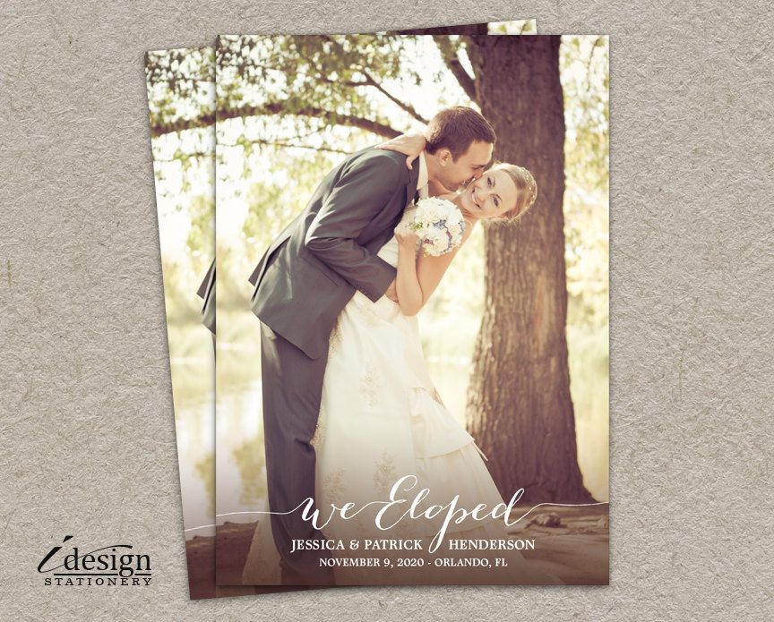 Elopement Announcement Card Diy Printable We Eloped Photo Announcements Wedding Cards Surprise Marriage