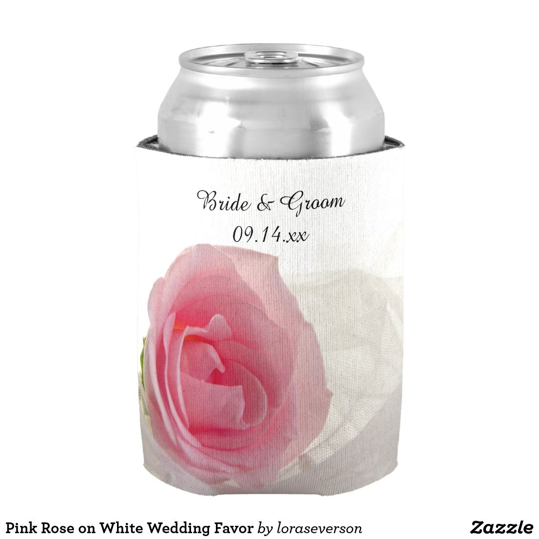 Pink Rose on White Wedding Favor Can Cooler | Wedding koozies ...