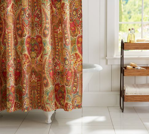 Rosalie Paisley Shower Curtain Red Pottery Barn Paisley Shower Curtain Curtains Easy Bathroom Updates