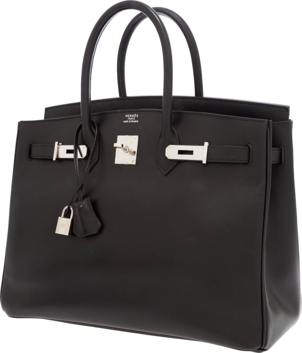 """Hermes 35cm Black Calf Box Leather Birkin Bag with PalladiumHardwareExcellent Condition14"""" Width x 10"""" Height x 7"""" DepthThis classic and sought after Birkin is done in Black Calf BoxLeather with Palladium hardware. This combination of black leatherand Palladium hardware make this Birkin a timeless handbag, a greatgo to bag for many occasions. Interior is black chevre leather withone zip pocket and one slip pocket.This bag is in excellent condition.  http://www.foryoubest.com"""