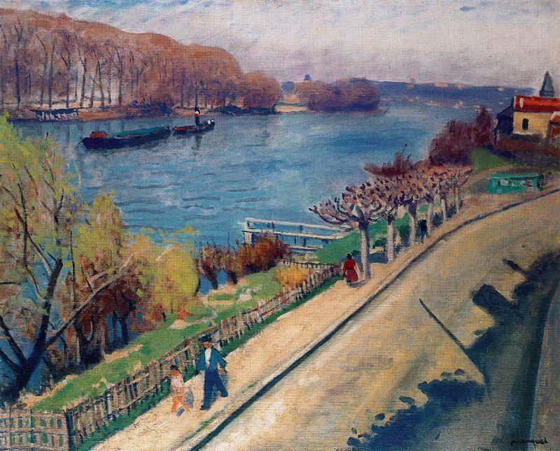 "rLa carreterra de La Frette, Oil by Albert Marquet (1875-1947, France. """