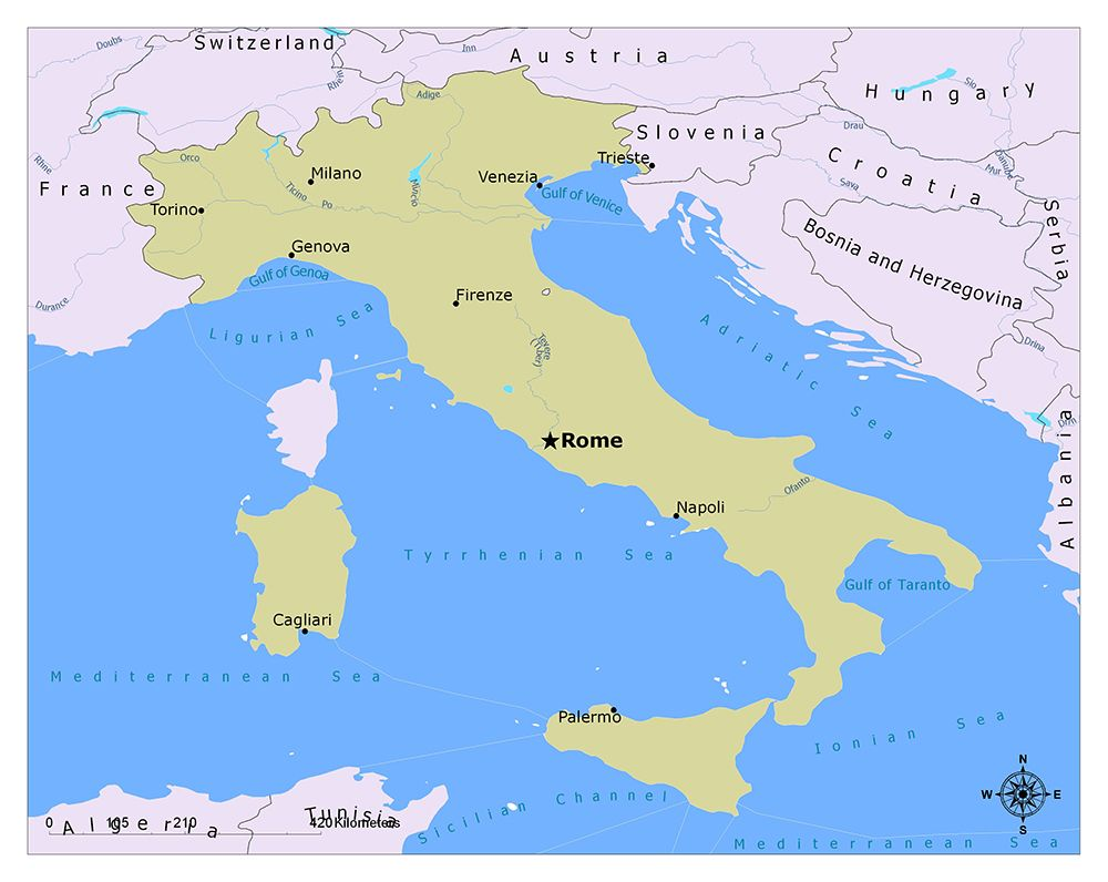 What Is The Capital Of Italy Italy Map Italy Cagliari