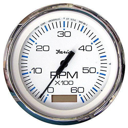 Faria Beede Instruments 33832 4 In Chesapeake White Stainless Steel Tachometer With Hourmeter 6 000 Rpm My Parts Toy Tachometer Hitch Accessories Chesapeake