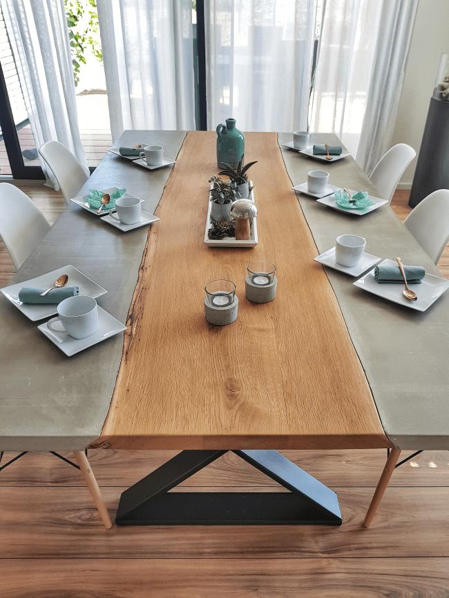 Diy Concrete Dining Table Mon Chef D œuvre En 2020 Table A Manger En Beton Bricolage En Beton Decoration De Cuisine