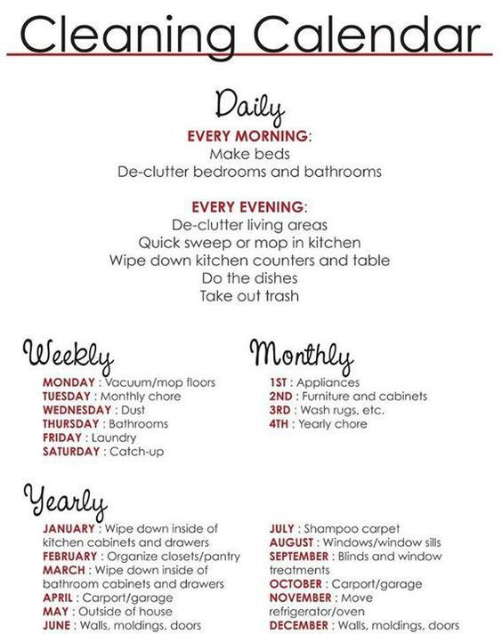 Easy Cleaning Schedule For Working Moms  Cleaning Calendar