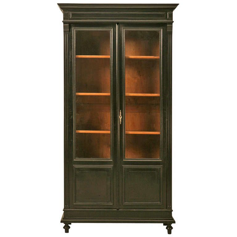 Circa 1880 Ebonized French Bookcase Or China Cabinet From A Unique Collection Of Antique And Modern Bookcases At